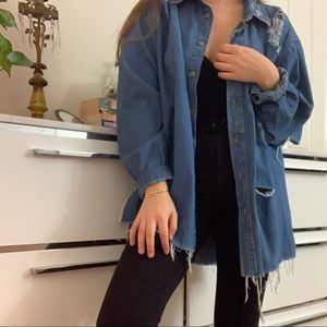 LF distressed denim jacket